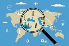 Mappa di viaggio intorno al mondo di vettore con gli aeroplani Immagine Stock Libera da Diritti