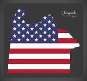 Mappa di Virginia City del Chesapeake con l'illustrazione americana della bandiera nazionale illustrazione di stock