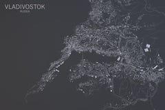 Mappa di Vladivostok, vista satellite, Russia Fotografie Stock Libere da Diritti