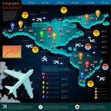 Mappa di volo degli aerei con la destinazione del punto Immagini Stock Libere da Diritti