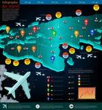 Mappa di volo degli aerei con la destinazione del punto in Europa Fotografie Stock Libere da Diritti