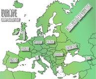 Mappa disegnata a mano di Europa Fotografia Stock