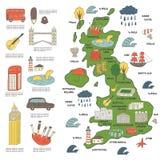 Mappa disegnata a mano sveglia di scarabocchio dell'Inghilterra Immagine Stock