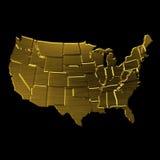 Mappa dorata di U.S.A. dagli stati Fotografie Stock Libere da Diritti