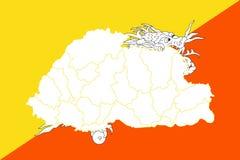 Mappa e bandiera del Bhutan Immagini Stock Libere da Diritti