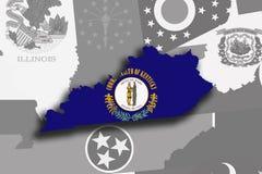 Mappa e bandiera del Kentucky Immagine Stock Libera da Diritti