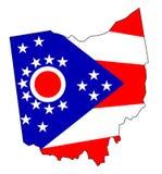 Mappa e bandiera del profilo dell'Ohio Immagine Stock
