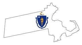 Mappa e bandiera del profilo di Massachusetts Immagine Stock