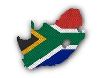 Mappa e bandiera del Sudafrica su vecchia tela Fotografia Stock