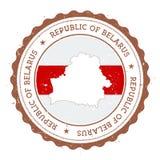Mappa e bandiera della Bielorussia nel timbro di gomma d'annata di Fotografia Stock