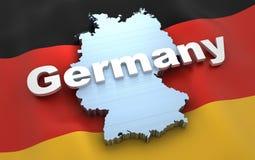 Mappa e bandiera della Germania Immagini Stock Libere da Diritti