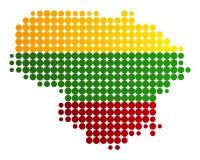 Mappa e bandiera della Lituania Fotografia Stock