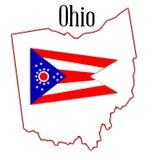 Mappa e bandiera dello stato dell'Ohio Fotografie Stock Libere da Diritti
