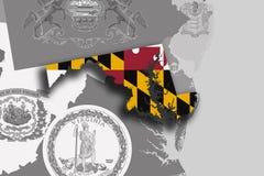 Mappa e bandiera di Maryland Fotografie Stock