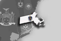 Mappa e bandiera di Massachusetts Fotografia Stock