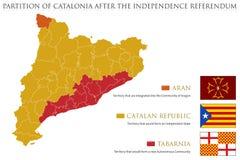 Mappa e bandiere possibili della Catalogna dopo il referendum Immagini Stock