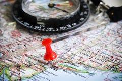 Mappa e bussola Fotografia Stock