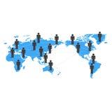 Mappa e la gente di mondo Concetto della rete di affari globali Fotografie Stock Libere da Diritti
