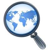 Mappa e lente astratte Fotografia Stock