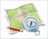 Mappa e matita di bussola per il viaggio di turismo Fotografia Stock Libera da Diritti