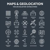 Mappa e navigazione Coordinate di GPS Icone di posizione Linea arte royalty illustrazione gratis