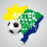 Mappa e pallone da calcio del Brasile 2014, illustrazione Fotografie Stock
