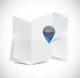 Mappa e progettazione dell'illustrazione del puntatore di posizione Fotografia Stock Libera da Diritti
