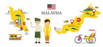 Mappa e punti di riferimento della Malesia con la gente in abbigliamento tradizionale Fotografia Stock Libera da Diritti