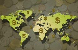 Mappa e simbolo di dollaro di mondo con la moneta. Fotografia Stock