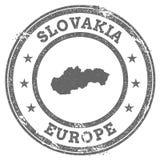 Mappa e testo del timbro di gomma di lerciume della Slovacchia Immagine Stock