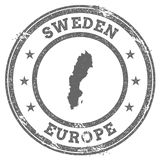 Mappa e testo del timbro di gomma di lerciume della Svezia Immagini Stock Libere da Diritti