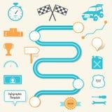 Mappa ed elementi della corsa Pianificazione e strategia Infographics Immagine Stock Libera da Diritti