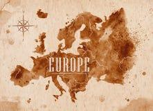 Mappa Europa retro Fotografie Stock Libere da Diritti