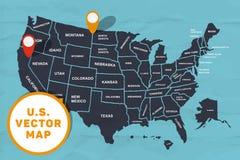 Mappa fatta a mano dell'America Fotografia Stock