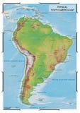 Mappa fisica del Sudamerica Fotografia Stock Libera da Diritti