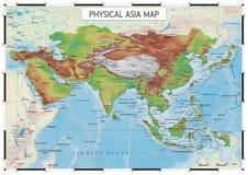 Mappa fisica dell'Asia Fotografia Stock