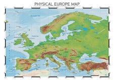 Mappa fisica di Europa Fotografia Stock Libera da Diritti