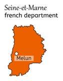 Mappa francese di dipartimento del Seine-et-Marne Fotografia Stock Libera da Diritti