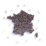 Mappa Francia di forma del gruppo della gente Immagini Stock Libere da Diritti