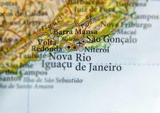 Mappa geografica del Brasile con la città di Rio De Janeiro fotografie stock libere da diritti
