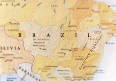 Mappa geografica del paese del Brasile con le città importanti Fotografie Stock Libere da Diritti
