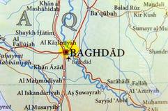 Mappa geografica dell'Irak con la città di Bagdad della capitale Immagini Stock Libere da Diritti