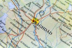 Mappa geografica dell'Irak con la città di Bagdad della capitale Fotografie Stock Libere da Diritti