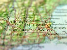 Mappa geografica della città dello stato USA Massachusetts e di Boston fotografie stock