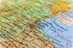 Mappa geografica della fine degli Stati Uniti Toledo Fotografia Stock