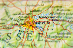 Mappa geografica della fine di Nashville fotografie stock libere da diritti