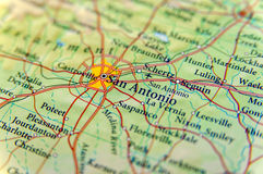 Mappa geografica della fine di San Antonio Fotografia Stock Libera da Diritti