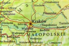 Mappa geografica della repubblica Ceca del paese europeo con ci di Cracovia Fotografia Stock Libera da Diritti