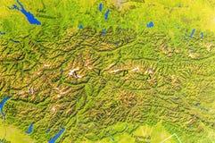Mappa geografica delle alpi mountan europee Fotografie Stock Libere da Diritti