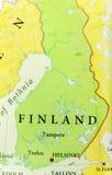 Mappa geografica di paese europeo Finlandia con le città importanti Fotografie Stock